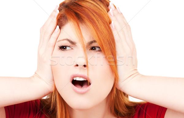 Nieszczęśliwy kobieta zdjęcie ręce kłosie Zdjęcia stock © dolgachov