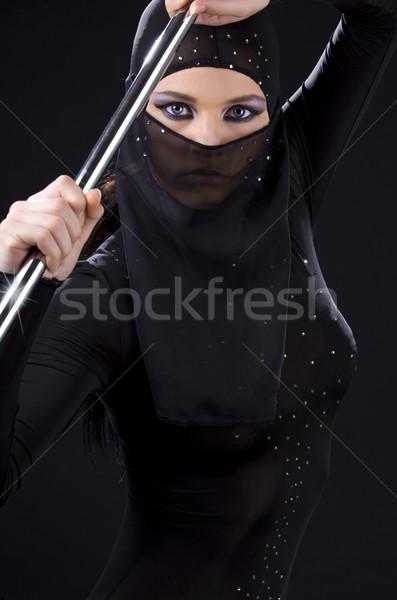 ниндзя фотография женщину полюс портрет Сток-фото © dolgachov