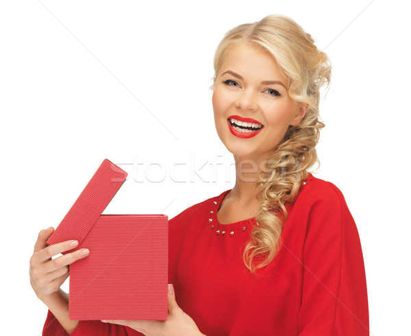 lovely woman in red dress with opened gift box Stock photo © dolgachov