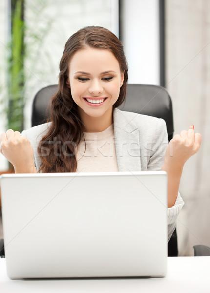 Sorridente empresária vitória ganhar quadro Foto stock © dolgachov