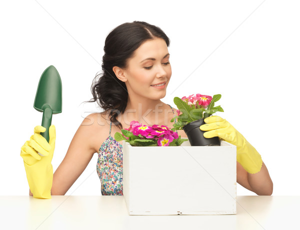 housewife with flower in pot and gardening set Stock photo © dolgachov