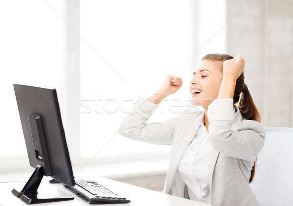 Сток-фото: деловая · женщина · компьютер · служба · фотография · счастливым · женщину