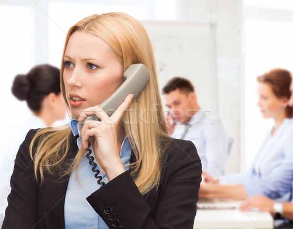 Confuso telefone mulher negócio problemas mulher Foto stock © dolgachov