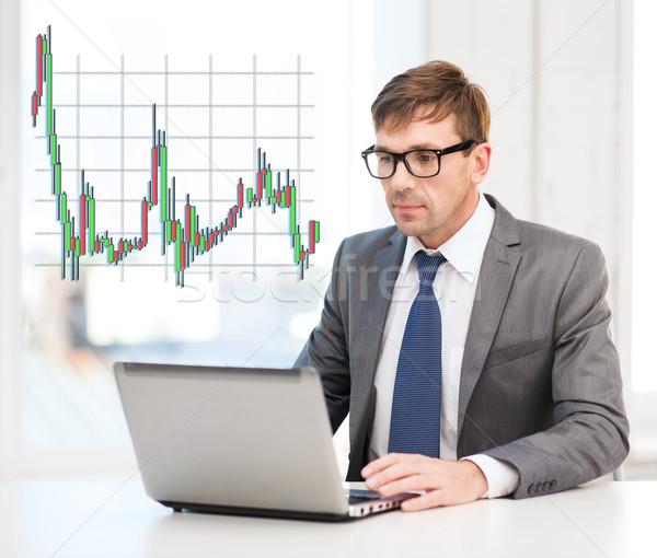 Biznesmen laptop forex wykres technologii ceny Zdjęcia stock © dolgachov