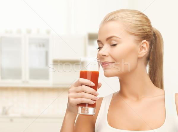 Jonge vrouw drinken tomatensap gezondheid voedsel dieet Stockfoto © dolgachov