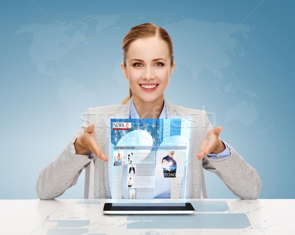 smiling businesswoman with tablet pc Stock photo © dolgachov