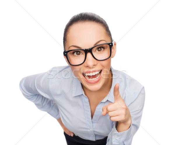 Sonriendo mujer de negocios dedo hasta negocios emoción Foto stock © dolgachov