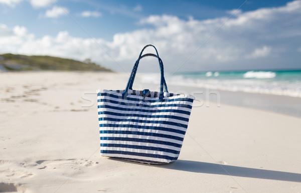 close up of beach bag at seaside Stock photo © dolgachov