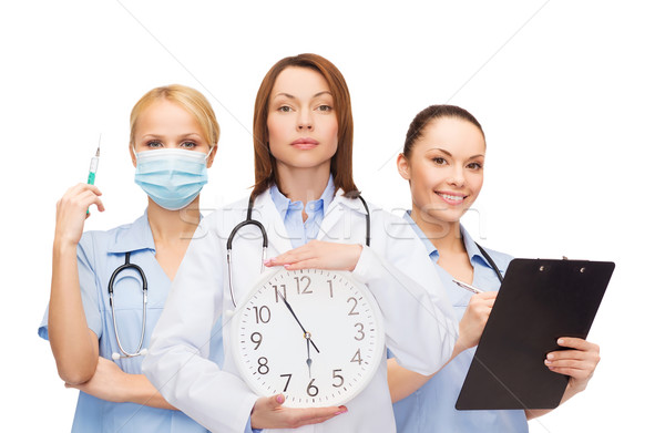 Feminino médico parede relógio Foto stock © dolgachov