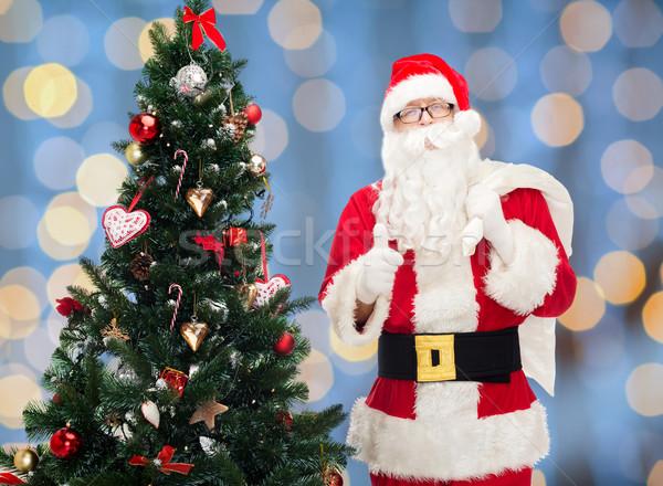 santa claus with bag and christmas tree Stock photo © dolgachov