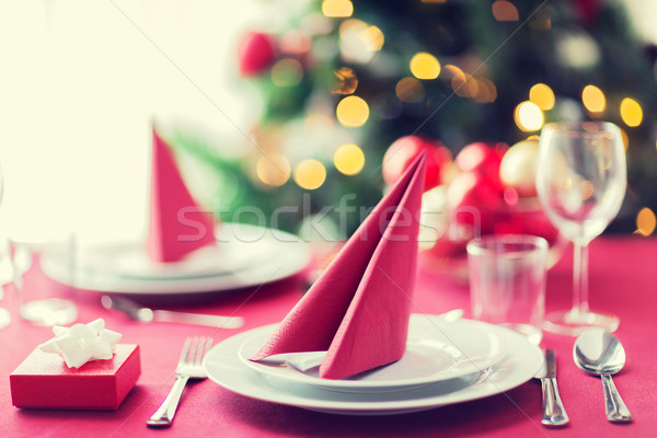 ストックフォト: ルーム · クリスマスツリー · 装飾された · 表 · 休日 · お祝い