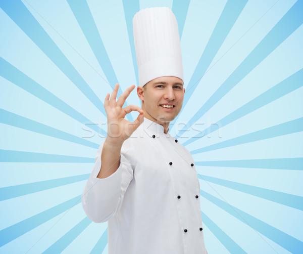 Stok fotoğraf: Mutlu · erkek · şef · pişirmek · neden