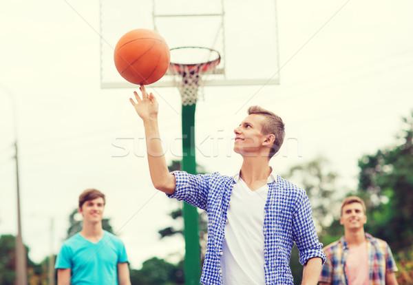 Сток-фото: группа · улыбаясь · подростков · играет · баскетбол · Летние · каникулы