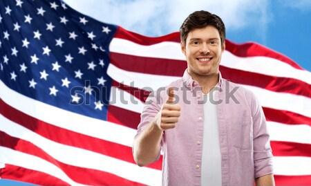 man pointing on you over american flag background Stock photo © dolgachov