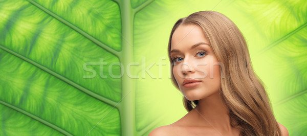 beautiful woman face with long blond hair Stock photo © dolgachov