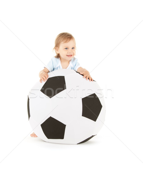 baby boy with soccer ball Stock photo © dolgachov