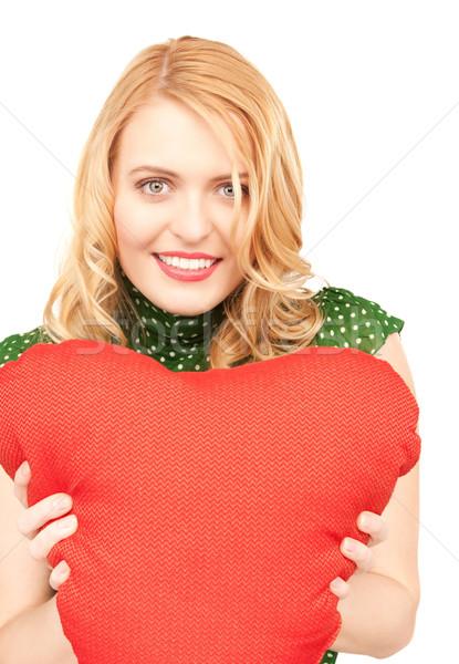 Stok fotoğraf: Kadın · kırmızı · yastık · beyaz · mutlu · model