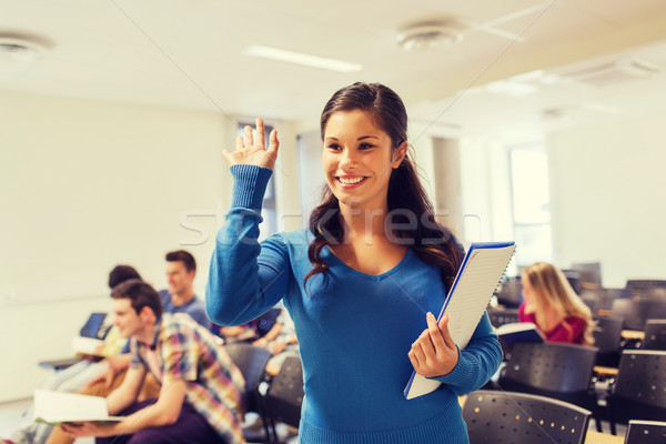 group of smiling students in lecture hall Stock photo © dolgachov