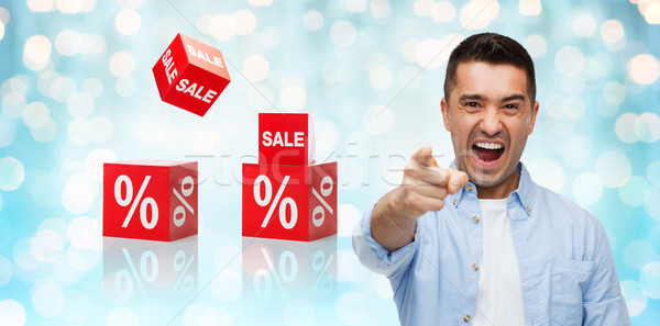 angry man shouting and pointing finger on you Stock photo © dolgachov