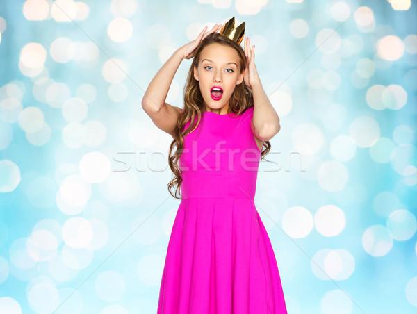 Feliz mulher jovem menina adolescente rosa vestir pessoas Foto stock © dolgachov