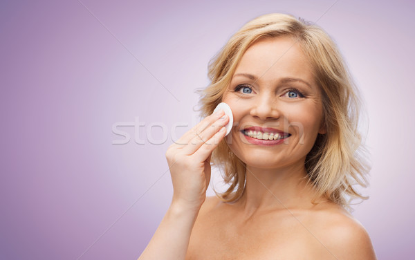 счастливым женщину очистки лице хлопка красоту Сток-фото © dolgachov