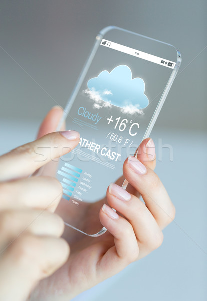 close up of hands with weather cast on smartphone Stock photo © dolgachov