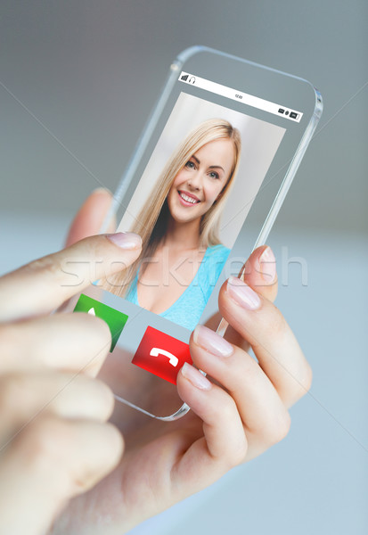 close up of woman with incoming call on smartphone Stock photo © dolgachov