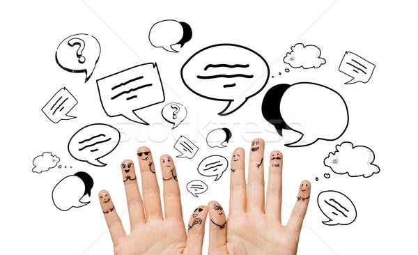 Mãos dedos emoticon faces comunicação Foto stock © dolgachov