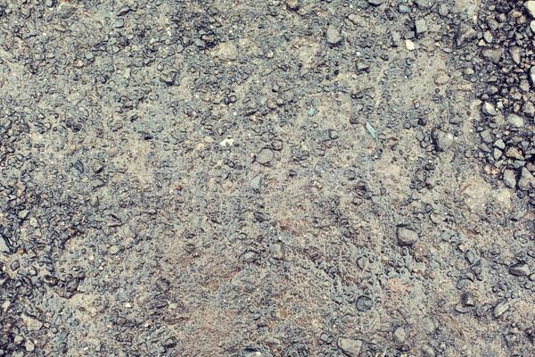 Közelkép nedves szürke kavicsút föld textúra Stock fotó © dolgachov