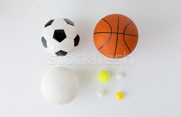 close up of different sports balls set over white Stock photo © dolgachov