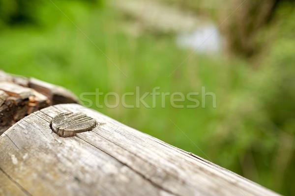 Ahşap çit açık havada eskrim ahşap Stok fotoğraf © dolgachov