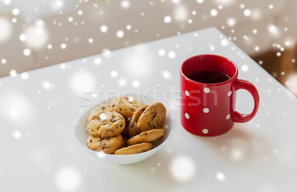 Zdjęcia stock: Owies · cookie · czerwony · tabeli