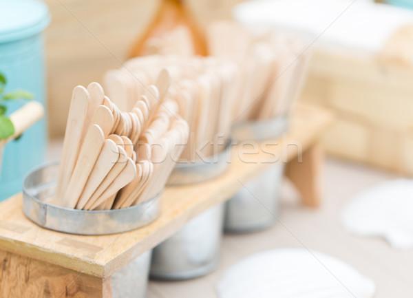 close up of wooden sticks on restaurant table Stock photo © dolgachov