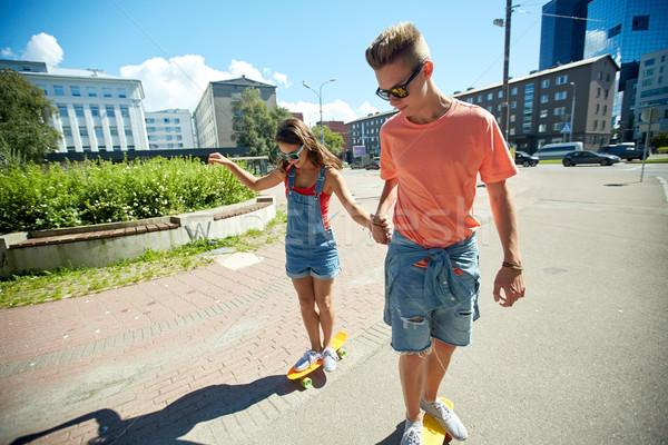 Para jazda konna ulicy miasta lata wakacje Zdjęcia stock © dolgachov