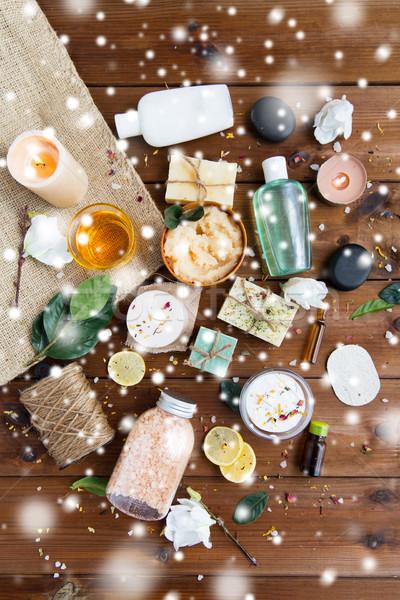 natural body care cosmetics on wood Stock photo © dolgachov
