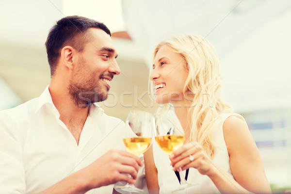 счастливым пару очки ресторан Lounge любви Сток-фото © dolgachov