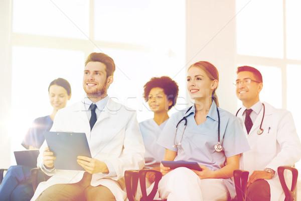 Grup mutlu doktorlar seminer hastane meslek Stok fotoğraf © dolgachov