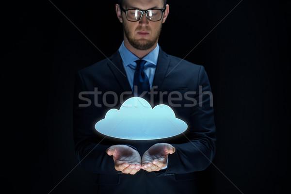 Empresário nuvem projeção preto negócio virtual Foto stock © dolgachov