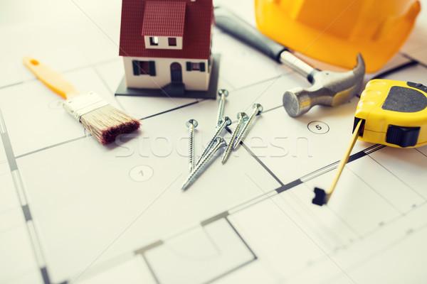 Maison plan bâtiment outils architecture Photo stock © dolgachov