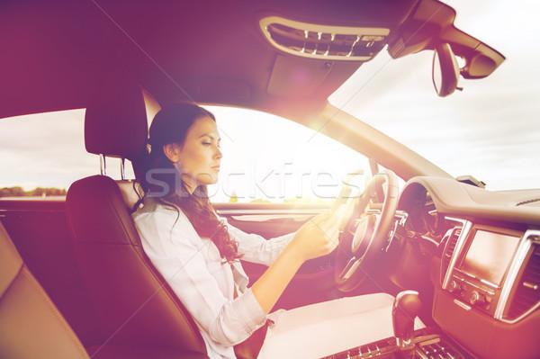 Stockfoto: Vrouw · rijden · auto · veiligheid · weg · reis