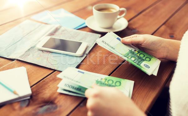 Reiziger handen euro geld vakantie Stockfoto © dolgachov
