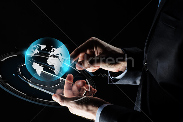 Foto stock: Empresário · mãos · terra · negócio · massa