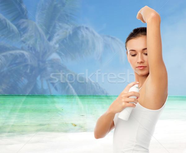 Mulher desodorante praia higiene pessoas Foto stock © dolgachov