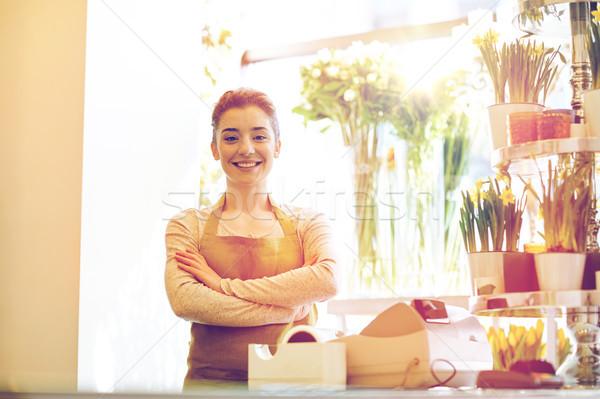 Glimlachend bloemist vrouw mensen business Stockfoto © dolgachov
