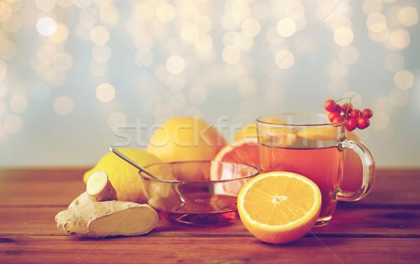 Tea méz citrom gyömbér fa egészség Stock fotó © dolgachov