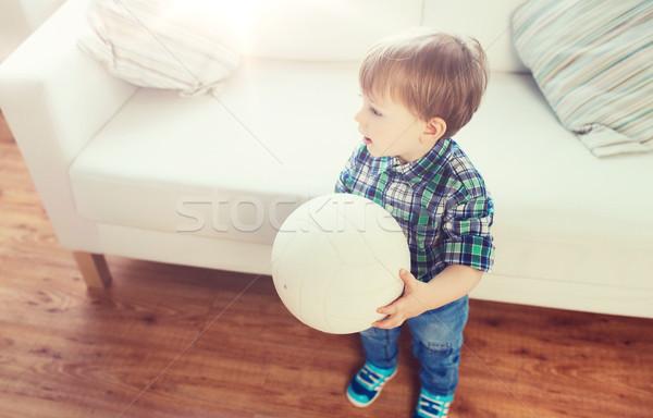 Boldog kicsi baba fiú labda otthon Stock fotó © dolgachov