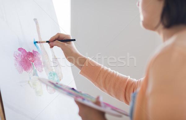 Művész paletta ecset festmény stúdió művészet Stock fotó © dolgachov