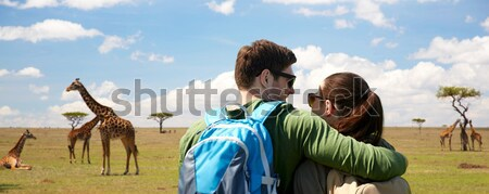 close up of gay couple hugging over los angeles Stock photo © dolgachov