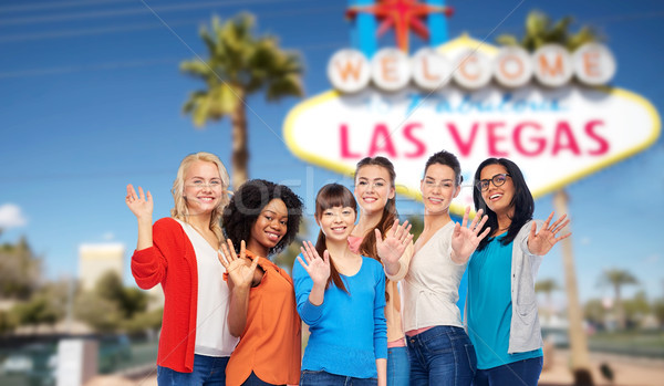 international group of happy women at las vegas Stock photo © dolgachov