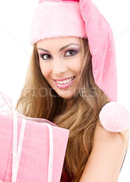 Foto stock: Feliz · ayudante · caja · de · regalo · Foto · cara